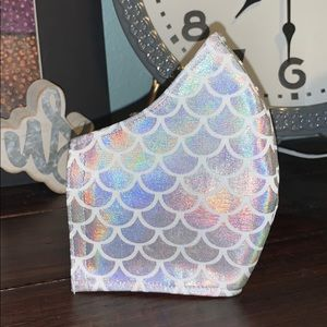Iridescent White Scales Face Mask